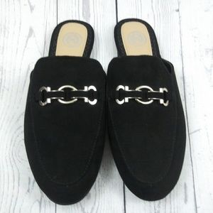 SO Black Slip On Flat Mules